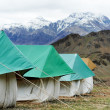 Tourist camp tents in mountains — Stock Photo