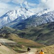 Two motorcycle tourist in india mountains — Stock Photo #19040789
