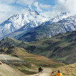 Two motorcycle tourist in india mountains — Stock Photo