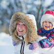 Mother with child at winter — Stock Photo