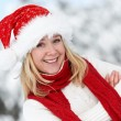 Happy young adult woman at winter — Foto de Stock