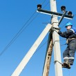 Power electrician lineman at work on pole — Stock Photo #19677185