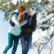 Young happy couple in winter — Stock Photo