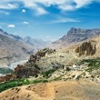 India Himalayas mountains with dhankar monastery — Stock Photo