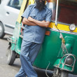 Indian auto rickshaw tut-tuk driver man - Stock Photo