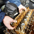 Stock Photo: Machanic repairmat automobile car engine repair
