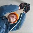 Electrician at wiring work — Stock Photo