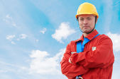 Builder manager worker at construction site — Stock Photo
