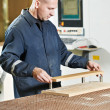 Wood furniture worker at workshop — Stock Photo