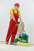 Parquet Floor maintenance by grinding machine — Stock Photo