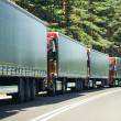 Lorry trucks in traffic jam - Stock Photo