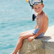 Stock Photo: Smiling boy with snorkeling gear