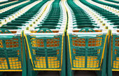 Shopping carts in supermarket — Stock Photo