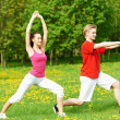 Stock Photo: Fitness man and woman doing stretching exercises