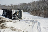 Winter freight lorry car crash — Stock Photo