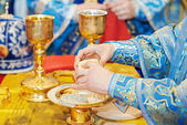 Orthodox Christian euharist sacrament ceremony — Stock Photo