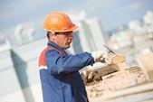 Pedreiro de trabalhador pedreiro construção — Foto Stock