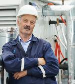 Senior adult electrician engineer worker — Stock Photo