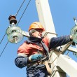Power electrician lineman at work on pole — Stock Photo #28613681