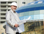 Site manager at construction area — Stock Photo
