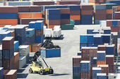 Cargo container boxes in dock terminal — Stock Photo