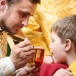 Orthodox ceremony of the Eucharist — Stock Photo