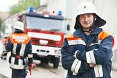 Fireman portrait at training — Stock Photo