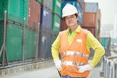 Chinese dock warehouse worker — Stock Photo