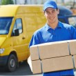 Delivery man with parcel box — Stockfoto