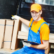 Delivery man with carton box — Foto Stock