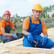Stock Photo: Carpenter workers on roof
