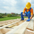 Roofer carpenter works on roof — Stock Photo #30770131