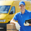 Stock Photo: Delivery mwith parcel box
