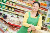 Chinese woman shopping food — Stock Photo