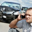 Upset driver man after car crash — Stock Photo