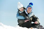 Young couple in winter — Stock Photo