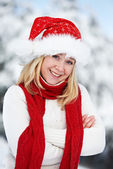 Happy young adult woman at winter — Stock Photo