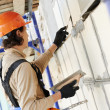 Facade builder plasterer at work — Stock Photo #31575407