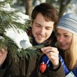 Romantic young peolple in winter — Stock Photo