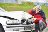 Upset man after car crash — Stock Photo