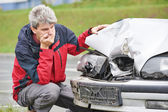 Upset man after car crash — Stockfoto