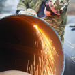 Welder worker with flame torch cutter — Stock Photo #32583377