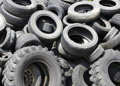 Used car tyres garbage for recycling — Stock Photo