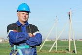 Portrét elektrikář moc pochůzkář — Stock fotografie