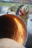 Welder worker with flame torch cutter — Stock Photo