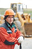 Retrato de trabalhador de construtor de construção — Foto Stock