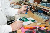 Microchip assembling manufacture — Stock Photo