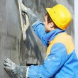 Worker at plastering facade work — Stock Photo #35823773