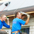 Постер, плакат: Roofing work with flex roof
