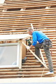 Roofing work with flex roof — Stock Photo